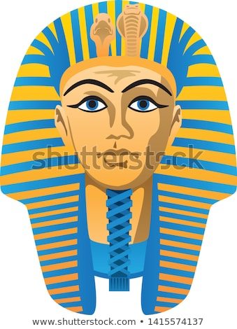 Egyptian Golden Pharaoh Burial Mask, Bold Colors, Isolated Vector Illustration Stock photo © jeff_hobrath