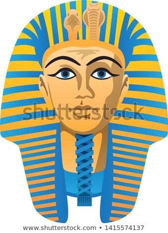 egyptian golden pharaoh burial mask bold colors isolated vector illustration stock photo © jeff_hobrath