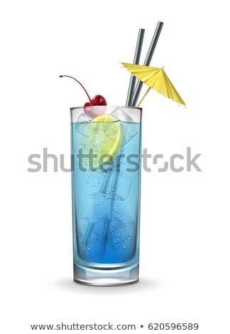 синий коктейль ломтик лимона изолированный черный Сток-фото © dla4
