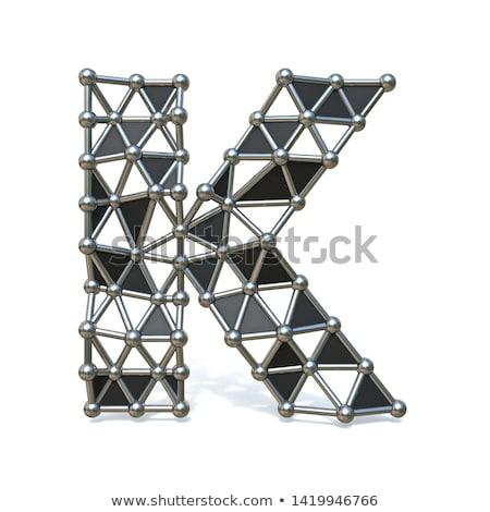 Wire low poly black metal Font Letter K 3D Stock photo © djmilic