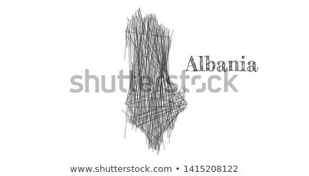 Esboço Albânia mapa país nome branco Foto stock © kyryloff