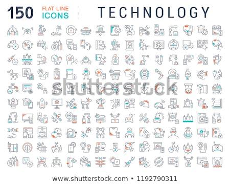 Digitális vektor biotechnológia ikon szett rajzolt egyszerű Stock fotó © frimufilms