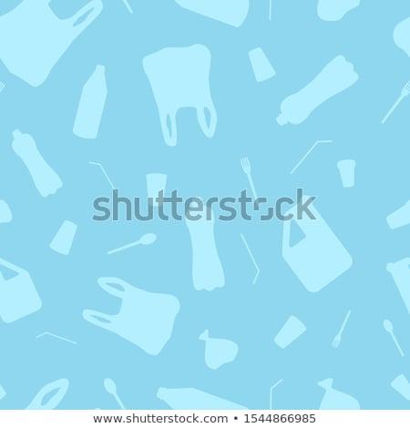 Vektor végtelen minta műanyag tárgyak stop szennyezés Stock fotó © user_10144511
