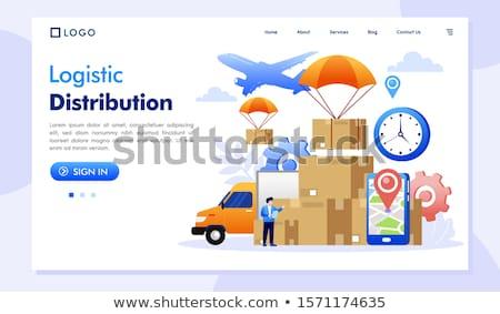 Iş lojistik iniş sayfa depo işçi Stok fotoğraf © RAStudio
