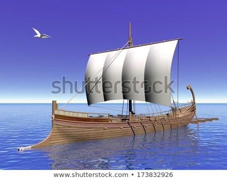 Oude zeilboot Grieks vector silhouet water Stockfoto © Glasaigh