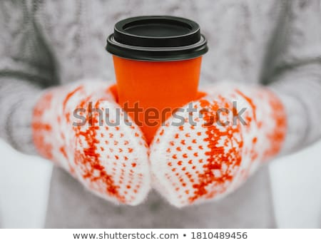 Stockfoto: Close Up Of Woman With Coffee Cup In Winter