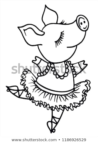 Happy Pig Dancing Drawing Retro Black and White Stock photo © patrimonio