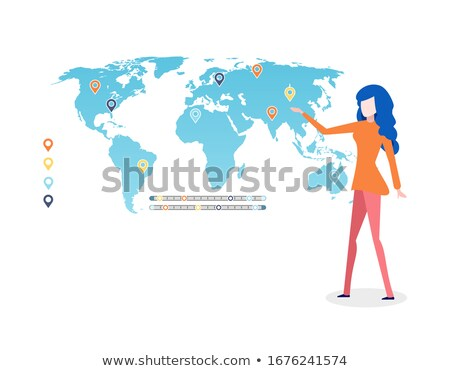 World Map Infographics and Legend, Presenter Lady Stock photo © robuart