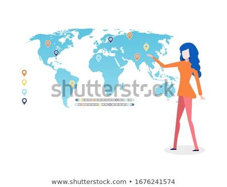 Mapa del mundo infografía leyenda dama mujer Foto stock © robuart