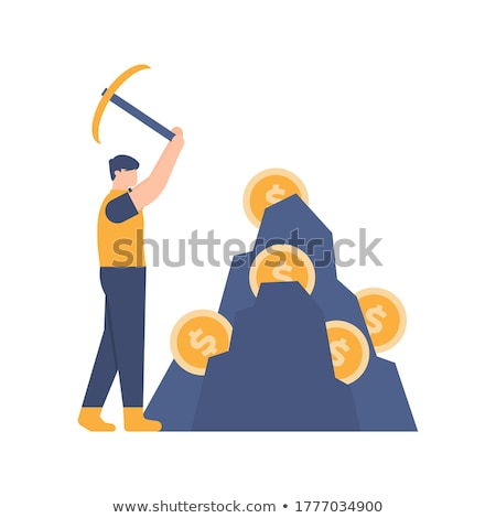 Człowiek bitcoin wydobycie waluta wektora Zdjęcia stock © vector1st