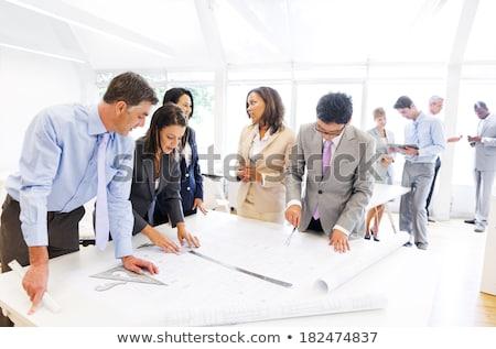 архитектура · инженер · команде · заседание · рисунок · рабочих - Сток-фото © Freedomz