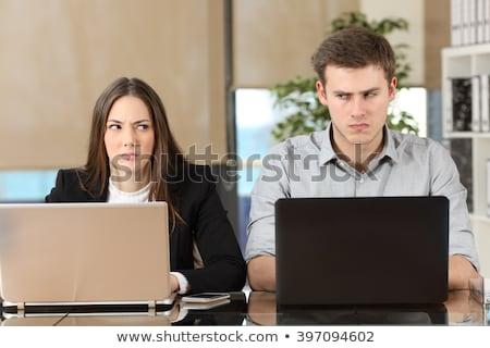 Stockfoto: Twee · boos · naar · ander · zijaanzicht