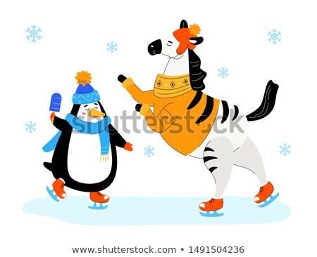 Zebra pinguim patinação projeto estilo ilustração Foto stock © Decorwithme
