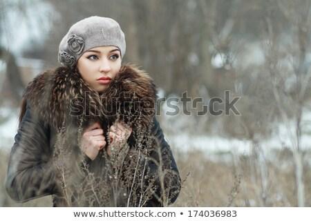 Aggódó nő hó fedett mezők tájkép Stock fotó © Lopolo