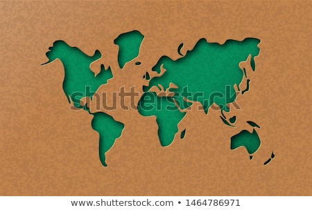 Green eco earth world map in paper cut style Stock photo © cienpies