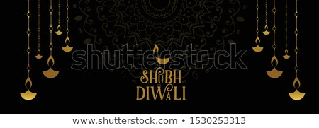 shubh diwali festival black and gold banner design Stock photo © SArts