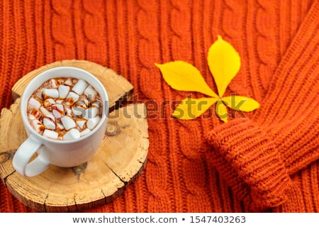 Cup of hot coffee as breakfast drink, flatlay cups on brown back Stock photo © Anneleven