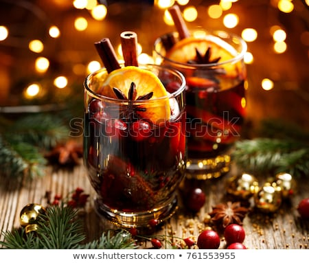hot cranberry mulled wine with oranges anise and cinnamon stock photo © brebca