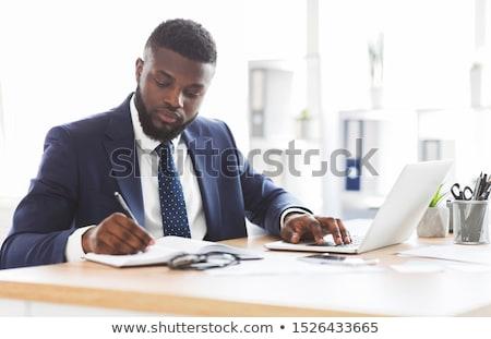 Homem trabalhando máquina de escrever negócio trabalhar Foto stock © ra2studio