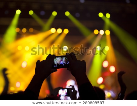Stok fotoğraf: People Enjoying Rock Concert And Taking Photos With Cell Phone At Music Festival