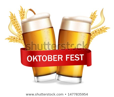Beer glasses October fest poster Vector realistic. Fresh sparkli Stock photo © frimufilms