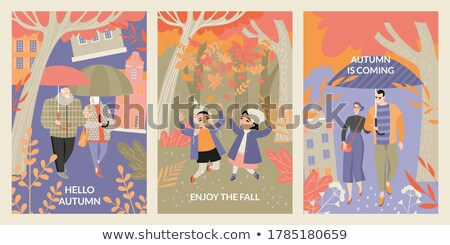 Old man in the park Vector. Fall season banner poster flat style Stock photo © frimufilms