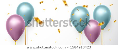 Realistic blue and purple balloon on white background with shadow and confetti. Shine helium balloon Stock photo © olehsvetiukha
