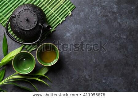 зеленый чай кегли чайник суши палочки для еды каменные Сток-фото © karandaev