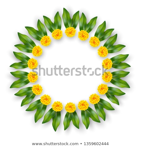 Mala traditional Indian decoration garland of flowers and mango leaves Stock photo © orensila
