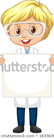 Boy in science gown holding paper on white background Stock photo © bluering