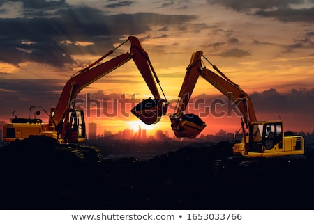 Graafmachine bouw uitrusting stadsgezicht werken machines Stockfoto © robuart