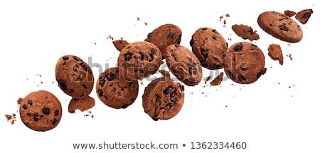 Gebarsten chocolade cookie twee sesam Stockfoto © dariazu