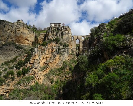 View of rocky canyons and New Bridge of Ronda spanish city, Spai Stock photo © amok