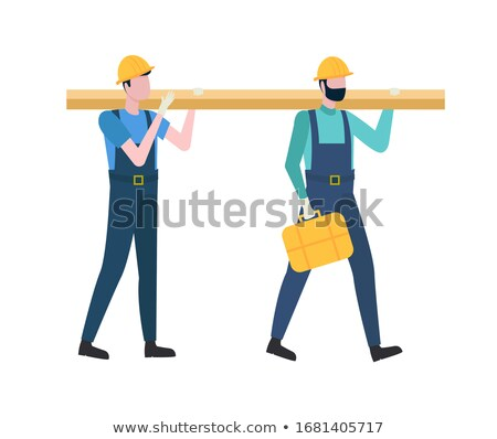 Workers or Builders Holding Log, Engineers Vector Stock photo © robuart