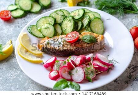 Felső kilátás friss zöldség saláta előkészített piros Stock fotó © vkstudio