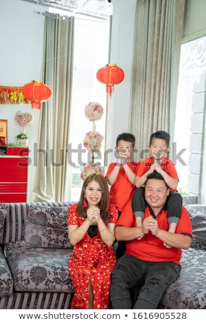 Vader zoon vieren kijken chinese Stockfoto © galitskaya