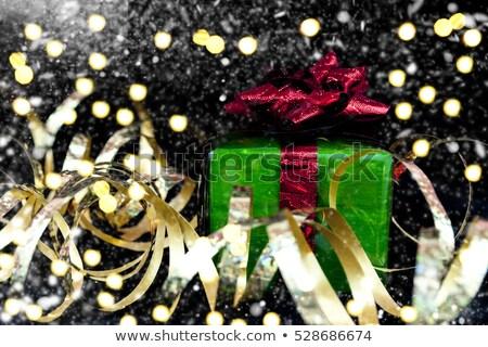 Noël décoration coffret cadeau brillant neige soie Photo stock © Anneleven