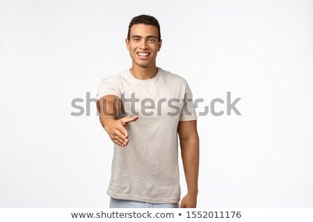 красивый дружественный молодые мужской человека футболки Сток-фото © benzoix