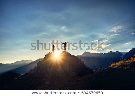Szépség hajnal hegyek égbolt tavasz erdő Stock fotó © olira