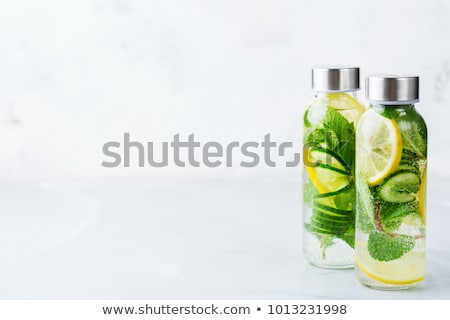 Fresh lime and mint infused water, cocktail, detox drink, lemona Stock photo © dashapetrenko