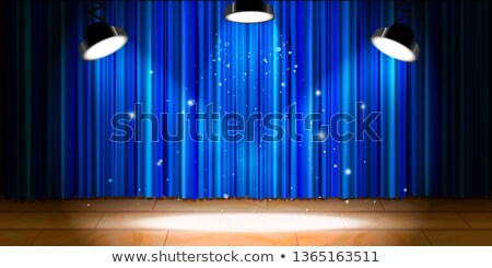Empty beige wooden stage with blue drape and bright light Stock photo © evgeny89