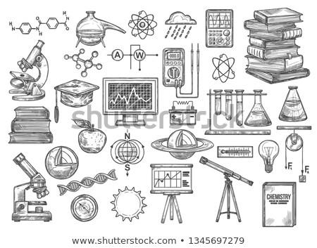 Biológia kémia kémcső könyv atom felirat Stock fotó © yupiramos