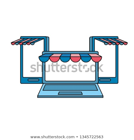 set devices with ecommerce tents Stock photo © yupiramos