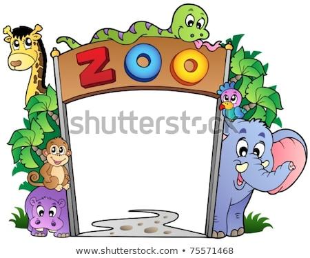 állatkerti állatok bejárat felirat illusztráció fa terv Stock fotó © bluering