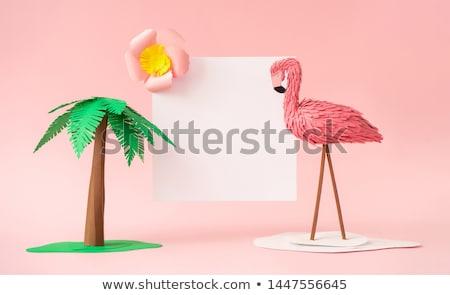 pink flamingo on a green background stock photo © mayboro