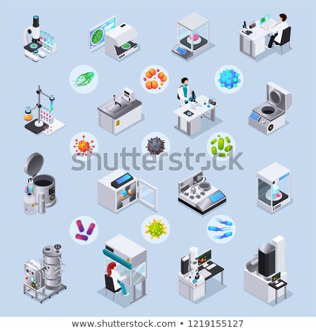 Magnifier Bacteria Microbe isometric icon vector illustration Stock photo © pikepicture