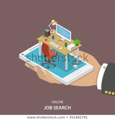 Człowiek pracy laptop izometryczny ikona Zdjęcia stock © pikepicture