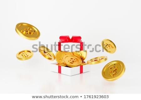 boîte · pièce · blanche · pièce · d'or · isolé · affaires - photo stock © creatOR76