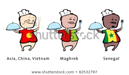 Chef of restaurant from Asia (China, Vietnam), Maghreb, Senegal - vector illustration  Stock photo © arzawen