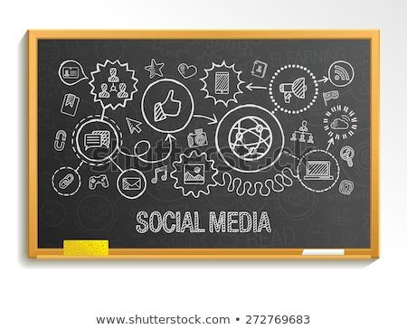 Stok fotoğraf: Kara · tahta · sosyal · medya · karanlık · örnek · dizayn · teknoloji